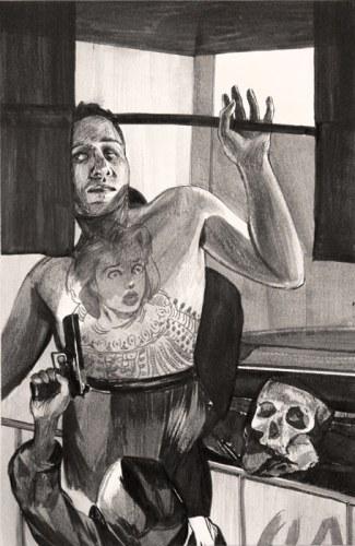 "Hugo Crosthwaite - ""Panic Tattoo,"" 2012, Acrylic on paper, 8.5 x 5.5 inches"