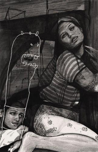 "Hugo Crosthwaite - ""Striped Shirt Muse,"" 2012, Acrylic on paper, 8.5 x 5.5 inches"