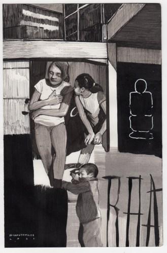 Hugo Crosthwaite - Untitled (HC010), 2021, Ink wash and acrylic on paper, 8.5 x 5.5 inches