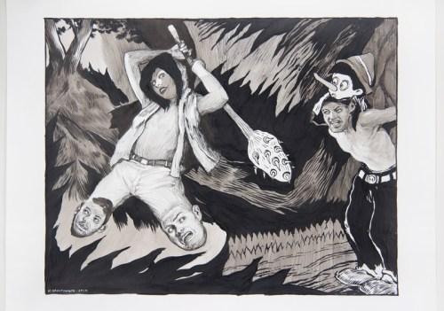 Hugo Crosthwaite - Untitled (Eusupio No.14), 2019, Ink wash and acrylic on paper, 14 x 17 inches