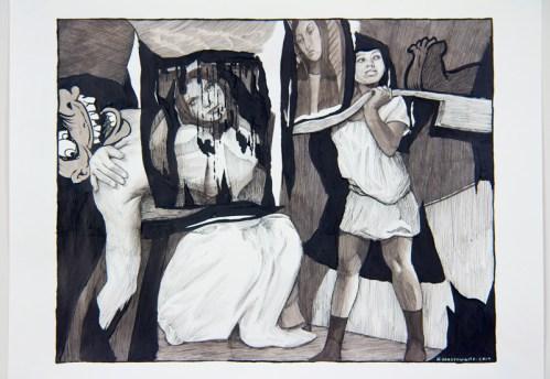 Hugo Crosthwaite - Untitled (Eusupio No.9), 2019, Ink wash and acrylic on paper, 14 x 17 inches