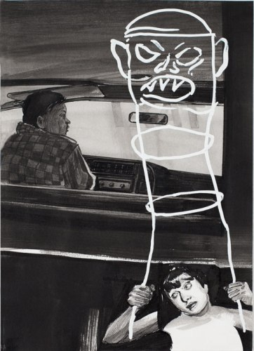 Hugo Crosthwaite - Taxi Fare, 2012, Acrylic on paper, 8.5 x 5.5 inches. Sold