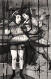 Hugo Crosthwaite - Waitress, 2012, Acrylic on paper, 8.5 x 5.5 inches