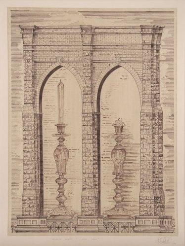 Brooklyn Bridge/ Dusk, Dawn - 2008, Ink on paper, 32.25 x 24 inches