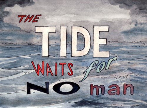 """Brian Dewan - """"The Tide Waits for No Man,"""" 2011, Ink and watercolor on paper, 9 x 12 inches (Drawing from """"The Tide Waits For No Man"""" Film Strip)"""