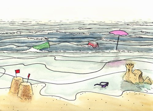 """Wash Away - 2011, Ink and watercolor on paper, 9 x 12 inches (Drawing from """"The Tide Waits For No Man"""" Film Strip)"""