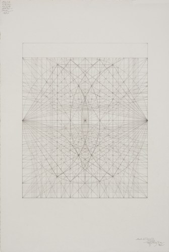 """Mark Reynolds - """"Double Phi Series, Ideal Mathematical Space 23, 11.16,"""" 2016, Graphite on cotton paper, 22 x 15 inches"""