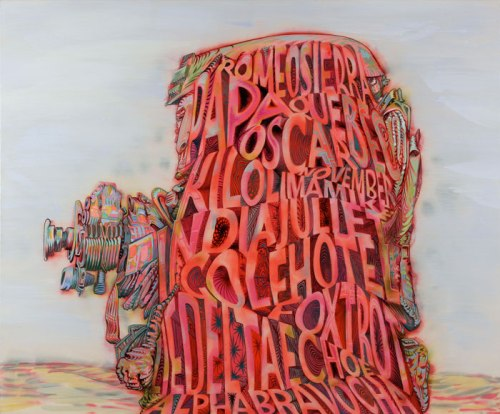 """James Esber - """"Alpha Bravo,"""" 2010, acrylic on canvas, 55 x 66.25 inches  James Esber's painting of a well-armed U.S. soldier relies on the military phonetic alphabet (""""Alpha,"""" """"Bravo,"""" """"Charlie,"""" """"Delta,"""" """"Echo"""" etc.) and can be read from top to bottom, left to right, or through the center of the piece. The words are contained within the thin contour of the soldier's body, creating another kind of form and space where muscle and bone should exist."""