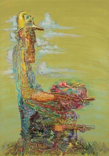 "James Esber - ""Hunters,"" 2015, Acrylic on PVC Panel, 68 x 48 inches"
