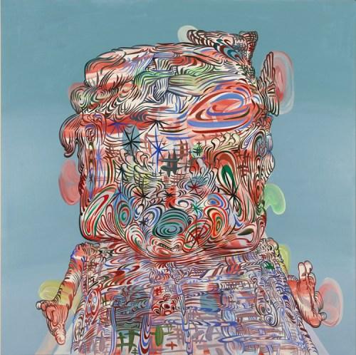 """James Esber - """"Ladybug,"""" 2015, Acrylic on canvas, 40 x 40 inches"""
