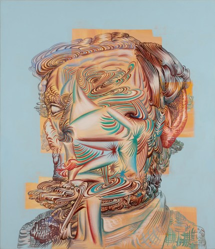 """James Esber - """"Lincoln No Face,"""" 2014, Acrylic on PVC panel, 37 x 31.75 inches"""