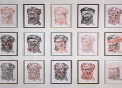 This is not a portrait (detail) - 2009-2010, ink on parchment, 18.25 x 15 inches each