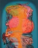 "James Esber - ""Hybrid with Bow,"" 2020, Acrylic on PVC panel, 40.5 x 32 inches"