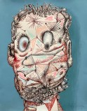 """James Esber - """"Selfie on Blue,"""" 2021, Acrylic on paper mounted to PVC panel, 14 x 11 inches"""