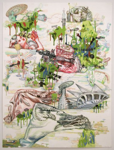 """J. Fiber - """"Mishap,"""" 2008, Acrylic, ink and colored pencil on paper, 40 x 30 inches"""