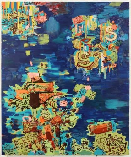 "Jane Fine - ""Kompramatika,"" 2018, Acrylic on canvas, 72 x 60 inches"
