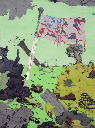"""Jane Fine - """"Beetle Bailey Goose-step,"""" 2015, Acrylic and ink on paper, 30 x 22 inches"""