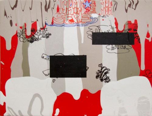 "Jane Fine - ""Big Little Lies,"" 2018, Acrylic on wood panel, 9 x 12 inches"