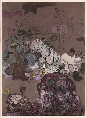 """Jane Fine - """"Dung of the Devil,"""" 2015, Acrylic and ink on paper, 41.5 x 29.5 inches"""