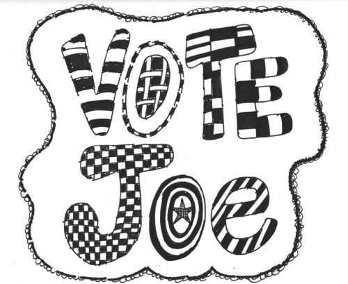 """Jane Fine - """"Vote Joe,"""" Ink on paper Original work for sale with funds going to the organization of your choice"""