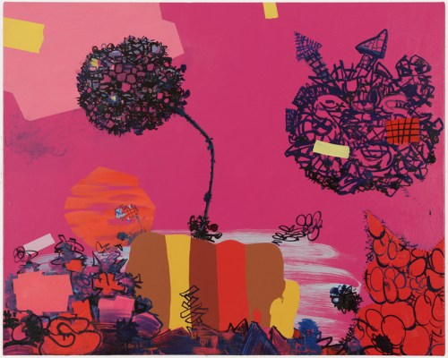 """Jane Fine - """"Poison Pink,"""" 2020, Acrylic on canvas, 24 x 32 inches"""