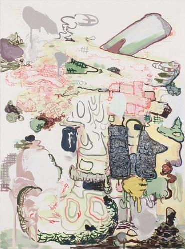 "Jane Fine - ""Hot Potato,"" 2016, Acrylic on paper, 42 x 31 inches"