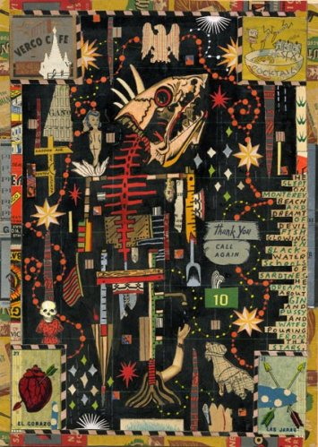 """Tony Fitzpatrick - """"The Cannery Row Scarecrow,"""" 2009, Mixed Media on Paper, 10.5 x 7.5 inches"""