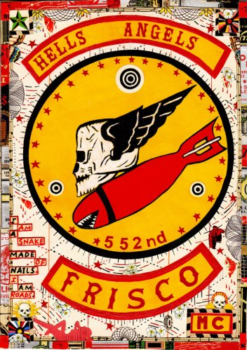 "Tony Fitzpatrick - ""Hells Angels Frisco,"" 2013, Mixed media on paper, 10 1/2 x 7 3/8 inches"