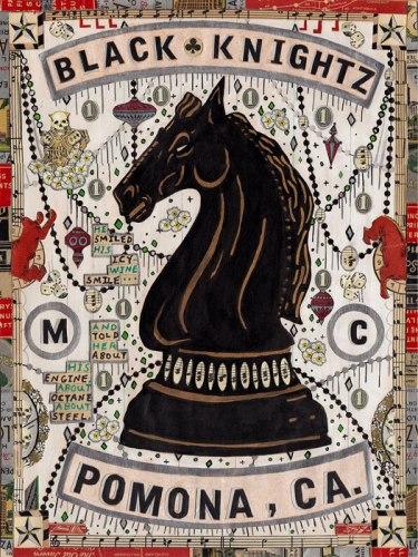 """Tony Fitzpatrick - """"Black Knightz,"""" 2012, Mixed media on paper, 12 x 9 inches"""