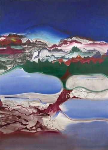 "Elliott Green - ""Fire Drip,"" 2016, Oil on linen, 76 x 54 inches"