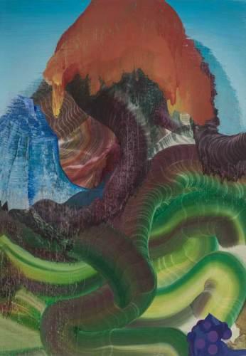 """Elliott Green - """"Over the Inner Ear,"""" 2019, Oil on linen, 32 x 16 inches"""