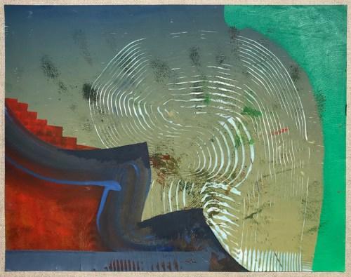 "Elliott Green - ""Red Velvet Steps,"" 2018–2020, Pencil and oil paint on paper, 8.5 x 11 inches"
