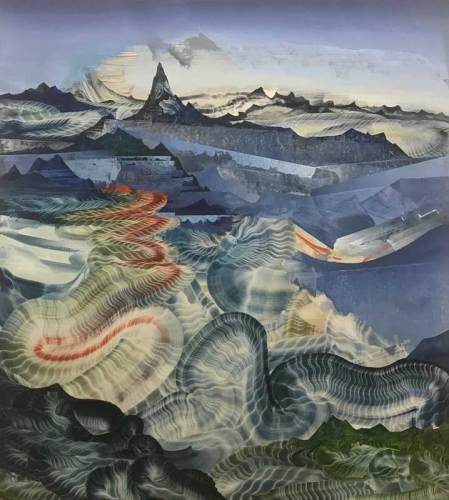 "GreenElliott - ""Telepathic Reverb,"" 2018, Oil on linen, 40 x 36 inches"