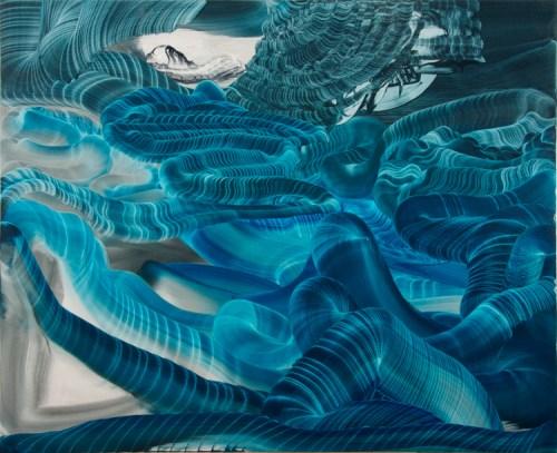"Elliott Green - ""Watery Light,"" 2017, Oil in linen, 33.5 x 41.75 inches"