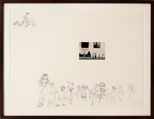 """Rachel Harrison - """"Untitled,"""" 1998, Ink and photograph on paper, 22.25 x 30 inches. Courtesy of Greene Naftali."""