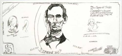 "Jonathan Herder - ""Five Dollar Bank Note,"" 2005, Ink on Paper, 9 x 20 inches"