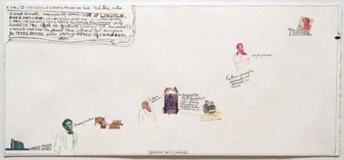 """Jonathan Herder - """"Making of a Legend,"""" 2006, Stamp Collage and Ink on Paper, 9 x 20 inches"""