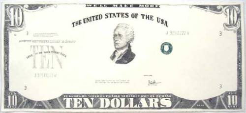 "Jonathan Herder - ""Ten Dollar Bank Note,"" 2007, Ink and Gouache on Paper, 9 x 20 inches"