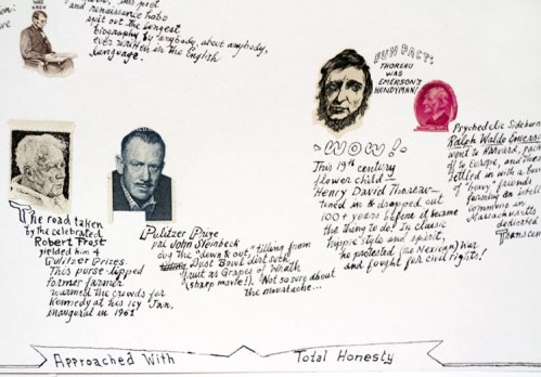 """Jonathan Herder - """"The Writin' Kind"""" (Detail), 2013, Stamp collage and ink on paper, 9 x 20 inches"""
