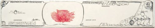 Jonathan Herder - Where's The Woman, 2006, Stamp collage, ink on paper, 4 x 16 inches