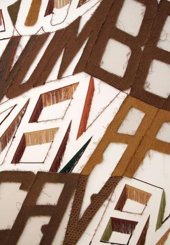 "Linda Herritt - ""Terra Infirma,"" (Installation Detail), 2014, Fabric, foam, tape, yarn, plastic, and wood, approx. 16 x 50 feet"