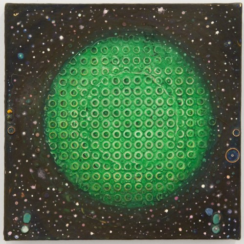 """Sharon Horvath - """"Moonlet,"""" 2017, Pigment, polymer, paper on canvas, 12 x 12 inches Sold."""