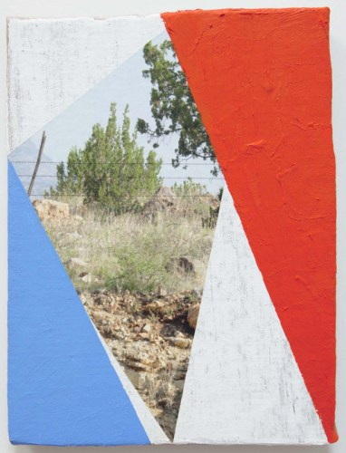 """James Hyde - """"Fence,"""" 2014, Acrylic on archival inkjet print on wood, 21 x 23.5 x 2.5 inches"""