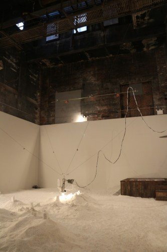 Detritus (Installation View) - 2013, Mechanical components, salt, dimensions variable