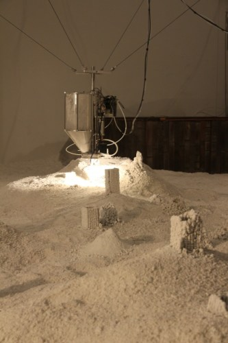 "Jonathan Schipper - ""Detritus (Installation View at The Boiler),"" 2013, Mechanical components, salt, dimensions variable"