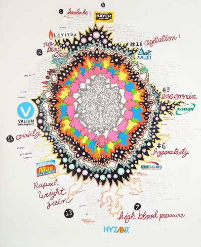 Drug Loop - 2011, Colored pencil and graphite on paper, 88 3/8 x 72 inches
