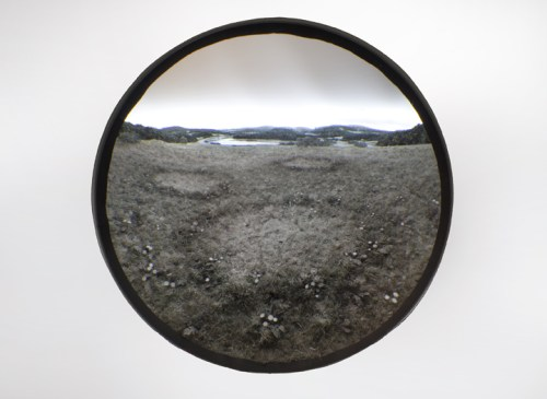 Three Fairy Rings (In Monochrome) - 2011, Paper, acrylic, extruded styrene, copper acrylic gel medium, hair, steel, acrylite, tin, lighting, BK7 glass; 19-inch exposed lens