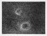 Double Ring Spot #2 - 2015 Copper plate etching, Rives BFK White paper, Black and Cobalt Blue Charbonnel. Edition 1/8 + 2 AP. Image: 3 x 4 inches, Paper: 9 x 9 inches
