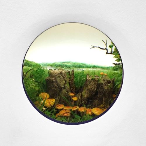 "Patrick Jacobs - ""Double Stump with Rustgill Mushrooms,"" 2015  Diorama viewed through 2.75 in. (7cm) window. 18.5 (W) x 12.75 (H) x 11.5 (D) in. (47 x 32 x 29 cm). Styrene, acrylic, cast neoprene, paper, polyurethane foam, ash, talc, starch, acrylite, vinyl film, copper, wood, steel, lighting, BK7 glass"