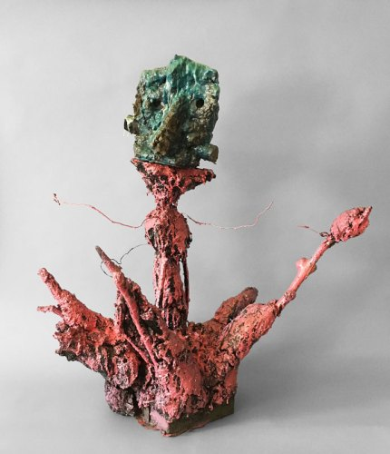 "Patrick Jacobs - ""Les Fleurs du Mal #1,"" 2018, Mud, sticks, wood, wire, epoxy, 32 x 21.75 x 26 inches"